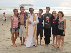Baba with students on beach after rock meditation SM So you want me to speak at your event?